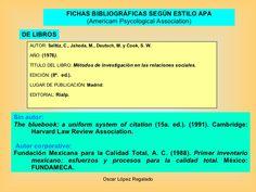 FICHAS BIBLIOGRÁFICAS SEGÚN ESTILO APA (Americam Psycological Association) AUTOR:  Selltiz, C., Jahoda, M., Deutsch, M. y ...