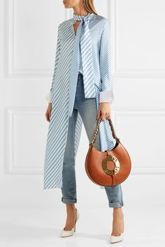 Loewe - Joyce Embellished Leather Shoulder Bag - Tan - one size Shirt Skirt, Skirt Pants, Casual Wear, Casual Outfits, Fashion Outfits, Loewe Bag, Style Personnel, Shirt Blouses, Leather Shoulder Bag