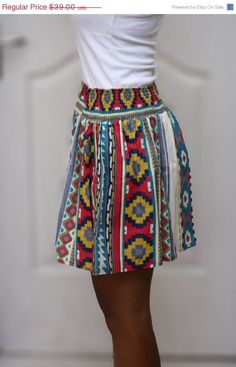 ON SALE  Spring Summer fashion mini skirt Colorful by LoNaDesign, $27.30