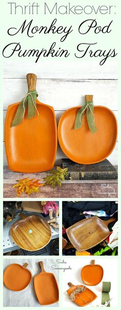 How to make DIY simple fall decor by upcycling monkey pod wood trays into rustic pumpkins by Sadie Seasongoods / www.sadieseasongoods.com