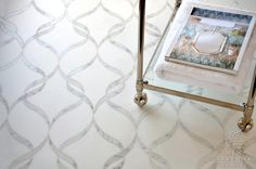 Sophie waterjet mosaic in honed Thassos and polished Calacatta Tia marble | New Ravenna