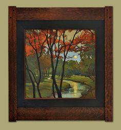 """Red Maple"" | Jan Schmuckal | Original Oil on Board | Arts & Crafts Chicago at Concordia University | Dard Hunter Studios Frame | 12""x 12"""