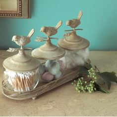 Need to finD these with butterflies instead Of birds! Aviary Jars - Set of 3 with Tray
