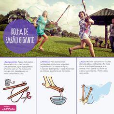 Quer aprender a fazer bolhas de sabão gigantes? É fácil e super divertido! Saiba mais em: http://www.revistasorria.com.br/site/edicao/tuplec-tuplim.php