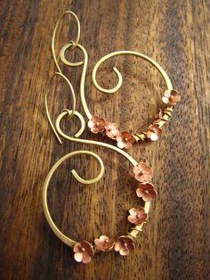 Brass & Copper Blossom Earrings by RoseAndHammer on Etsy, $97.50