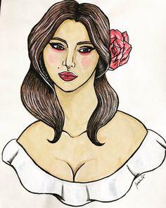 """Malagueña salerosa"" Dibujo tradicional a acuarelas al agua, micropen y pincel japonés"