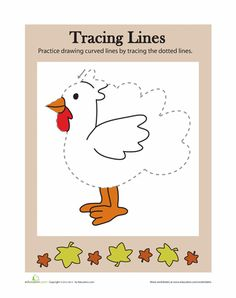 Worksheets: Tracing Lines: Thanksgiving