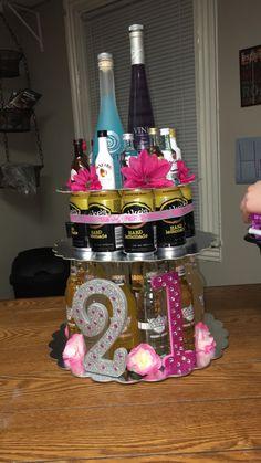 Alcohol cake I made for my roommates 21st birthday!