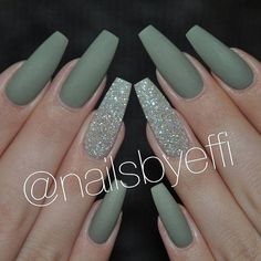 Matte Green Nails Do you like the way various nail art designs look on almond shaped nails? We do, that is why we decided to create a gallery featuring some awesome nail designs that work great for almond nails. Opt for this nail shape Cute Acrylic Nails, Acrylic Nail Designs, Nail Art Designs, Acrylic Gel, Nails Design, Acrylic Nails Green, Green Nail Designs, Matte Nail Art, Nails Acrylic Coffin Glitter