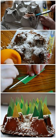 Recycle a cardboard drink carrier and make a 3-D Snowy Mountain Winter Art Project. | Fun Winter Craft for Kids. | From iheartcraftythings.com