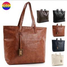 Faux Synthetic Leather Ladies Women Shoulder Shopper Tote Bags Handbags