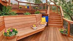 Decks Without Railings Multiple Level Pine Deck Wood