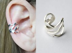 "Shop put  favorites, we often have discounts and promotions! Pls, keep an eye on the store - https://www.etsy.com/ru/shop/EarringsEarcuffs      I make a gift with every order :)        Ear Cuff ""Refined geometry"" - volume aesthetics.  Choose a present for a refined and elegant ladies would be many times easier. For example, fine, three-dimensional and amazingly graceful ear cuff silver will be a great solution. Luxury pattern. The complex and intricate interweaving lines. Creating a virtuoso…"