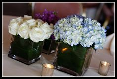 #wedding #roses #hydrangeas #centerpiece