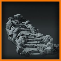 3d stairs stone model Stone stairs Low poly