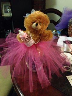 "Teddy bear baby shower centerpieces! ""Tutu Cute"" theme."