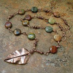 Red Creek jasper, wire twists, all coated w/Ren wax by Mary Newton Jewelry Copper Jewelry, Wire Jewelry, Boho Jewelry, Jewelry Crafts, Beaded Jewelry, Jewelry Necklaces, Jewelry Design, Fashion Jewelry, Jewellery Box