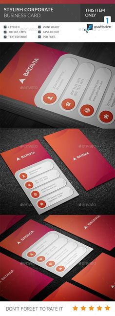 Stylish Corporate Business Card Template PSD