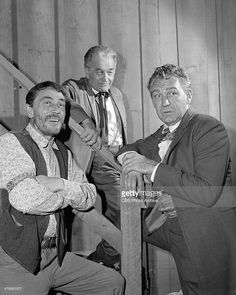 Ken Curtis as Festus Haggen, Milburn Stone as Doc Adams and Forrest Tucker as Brad McClain on the GUNSMOKE episode, 'Double Entry.' Image dated October