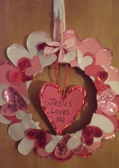 Jesus Loves Me Paper Hearts Glitter Wreath - Valentine's Day Bible Crafts Project for Kids.