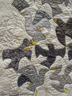 "close up, ""It's All About the Birds"" by Toby Gluckstern.  Inspired by M.C. Escher. 2015 World Quilt Show."