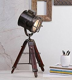 Co Designer Spot Light Marine Nautical Table Lamp Searchlight With Tripod Stand Bronze Industrial Lighting, Industrial Style, Vintage Industrial, Lamp Design, Lighting Design, Lighting Ideas, Light Table, Lamp Light, Brick Images