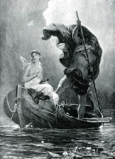 Psyche crossing the Styx with Charon