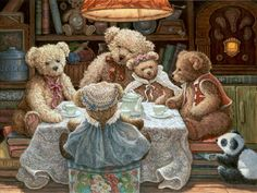 Teddy Bear Wear, a painting of Bentley Bear and his family seated on either a hat box or stacks of books, gathered around a small table covered in a lace cloth, set with a white china tea service. A small stuffed Panda bear looks on from the floor. One of the Janet Kruskamp Teddy Bear Gallery of original paintings by Janet Kruskamp
