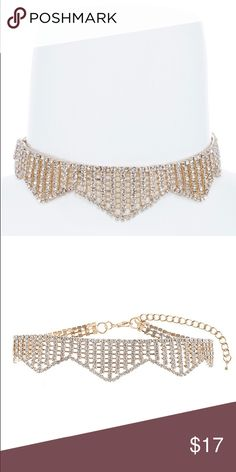"""Rhinestone Chevron Choker Necklace New! •Gold •Approx. 12"""" length  •Lobster claw clasp with 3.0"""" extender •Lead/nickel compliant  (No brand, Fashion Nova listed for exposure) SHIP 2/8/17  PRICE IS FIRM! Fashion Nova Jewelry Necklaces"""