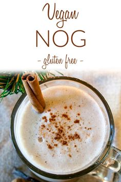 Vegan Nog (gluten free, dairy free, egg free) - This homemade eggnog recipe is perfect for the holidays. It is made with dates, fresh nutmeg, and a vanilla bean. Make it spiked with alcohol or not. #veganeggnog #holidaydrinks #egglesseggnog