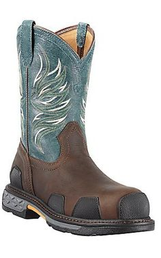 Ariat Overdrive Mens Dark Brown w/ Blue Ice Composite Square Toe Western Work Boots