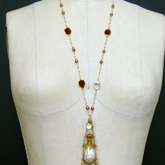 #5 Guinevere II Necklace - Garnet Pearls Chatelaine Pearl Scent Bottle