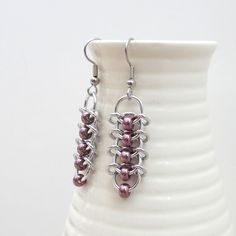 Centipede chain mail earrings with eggplant by TattooedAndChained