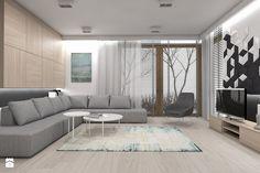 Projekt domu jednorodzinnego 1 - Salon z tarasem / balkonem, styl nowoczesny - zdjęcie od BAGUA Pracownia Architektury Wnętrz
