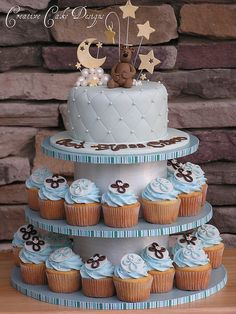 Baptism Boy Cupcake Tower - Color Name Baby - Ideas of Color Name Baby - baptism cake & cupcakes Baptism Cupcakes, Baby Shower Cupcakes For Boy, Gateau Baby Shower, Cupcakes For Boys, Baby Boy Cakes, Girl Cakes, Baby Boy Shower, Baby Boy Baptism, Cake For Baptism Boy