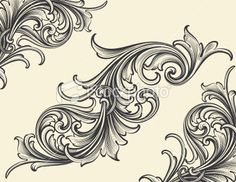 Thin Bodied Scrollwork with engraved corners Royalty Free Stock Vector Art Illustration