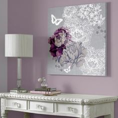 Monsoon - purple and silver flowers and butterflies canvas art Graham & brown