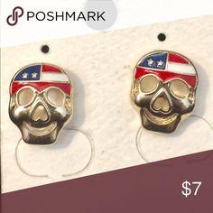 "Patriotic skull Stud earrings Patriotic skull Stud earrings, NWOT, approx 1/2"" L Jewelry Earrings"