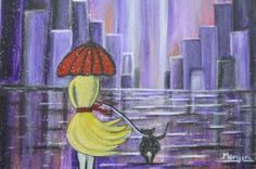 "Saatchi Art Artist Manjiri Kanvinde; Painting, ""Stroll in the Purple rain contemporary Abstract"" #art"