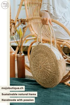 CHF32 · Are you looking bag fitting with any outfit? Our Raffia bag might be the one you are looking for. He is made out of natural material 🌾 and is fairly handmade 🤝 #raffiabag #summerbag #handmadebags #uniquebag #beachbag #bohobag #roundbag #strawbag #beachbag #raffiabags #fashionhandmade #gypsybag #naturalbag