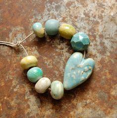 Gaea Ceramic Bead and Art Studio Blog Lace Heart bead set. gaea.cc