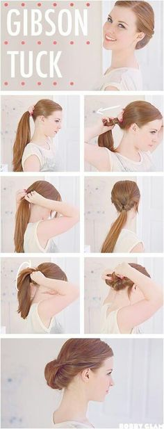 Do you know what a Gibson tuck is? It is a kind of women's hairstyle. The hair is an up-do which is styled in a more feminine way. Gibson tuck can be made of. Quick Diy Hairstyles, Cute Simple Hairstyles, Up Hairstyles, Pretty Hairstyles, Summer Hairstyles, Hairdos, Wedding Hairstyles, Office Hairstyles, Stylish Hairstyles
