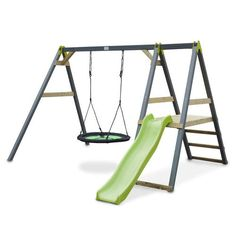 The EXIT Aksent Nest Swing + Slide is a modern designed play equipment provided with a special nest seat and a part where you can climb and slide. The slide has a fresh lime green colour.