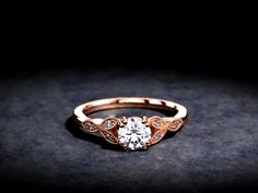0.70ct Diamond Floral Dainty Ring in 14K Rose Gold #floral #dainty #diamond #engagementring #vintagering #flowerring #rosegold