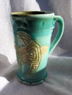 Pottery Sea Turtle Mug Wheel thrown by rikablue on Etsy, $16.00