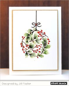 Merry & Joy: Brushstroke and Silhouette Stamping Painted Christmas Cards, Watercolor Christmas Cards, Christmas Card Crafts, Homemade Christmas Cards, Christmas Drawing, Christmas Paintings, Watercolor Cards, Christmas Art, Homemade Cards
