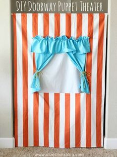 Sewing: DIY Doorway Puppet Theater...Doorway Puppet Theater! What a fun summer sewing project. Attaches to any door frame using a curtain rod.