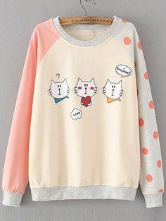 Color Block Cat Print Raglan Sleeve Sweatshirt — 0.00 € ---------color: Pink size: one-size