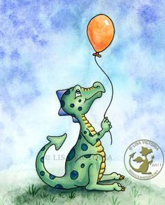 Dragon art, art print, nursery art, nursery artwork, fine art print, friendly dragon, dragon, dragons,orange balloon,balloon, Balloon Dragon , Lisa Victoria, fantasy, fantasy art, fairies, fairy tale, greeting card, magnet, sticker, children's decor, kid's wall art