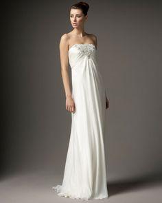Carmen Marc Valvo White Strapless Beadedbust Gown